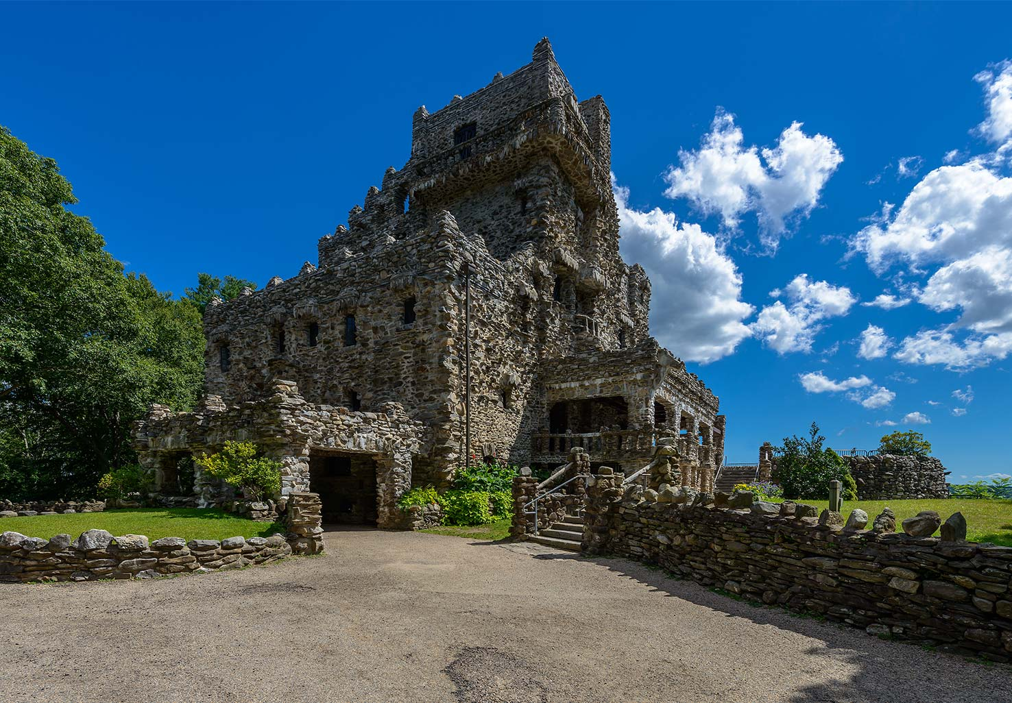 Gillette Castle with a blue sky