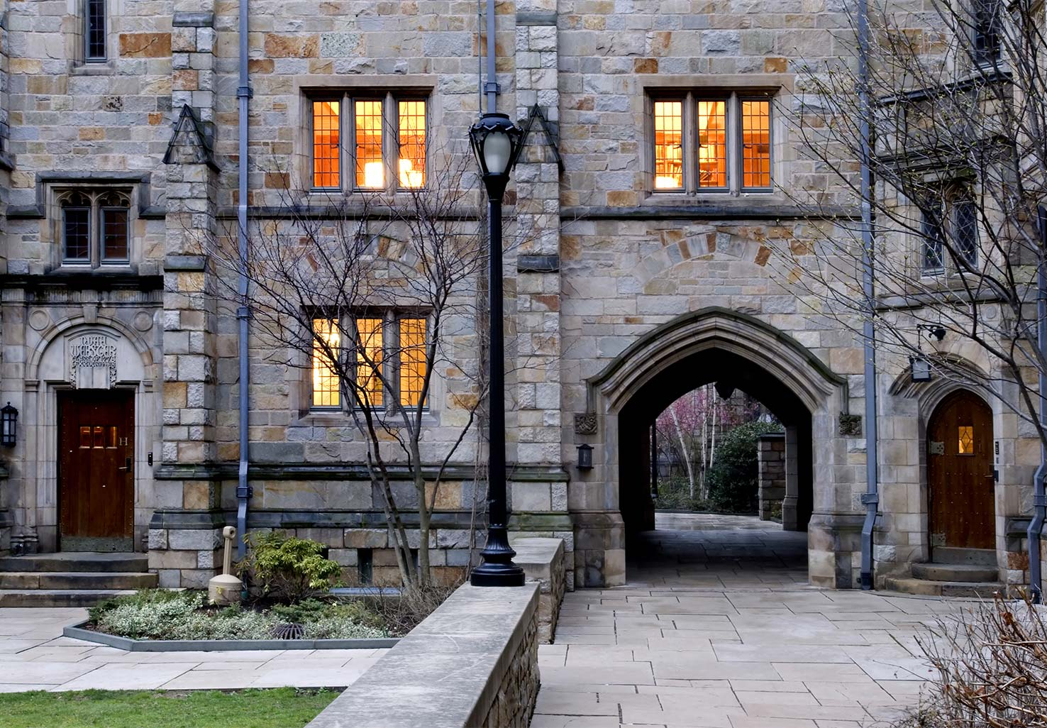 Stone building and walkway at Yale University