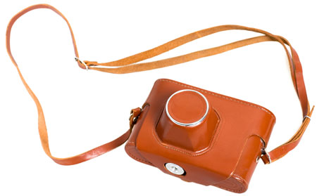 Camera in leather case