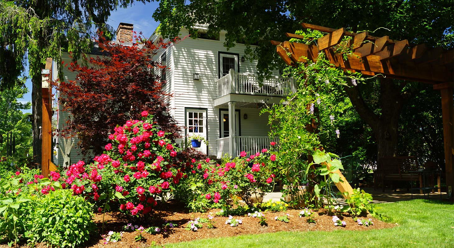 Garden with red flowers and Riverwind Inn