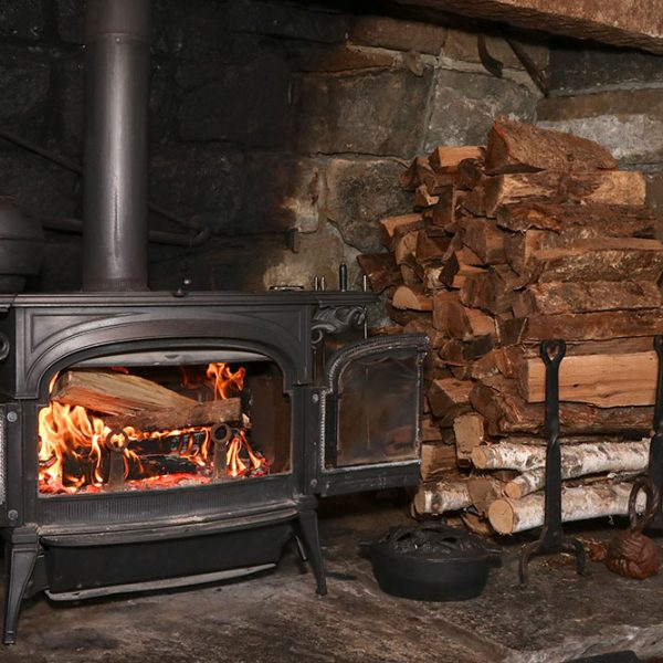A large wood burning fireplace