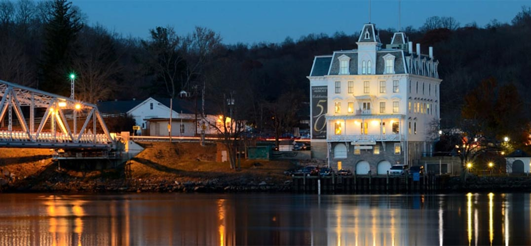 Goodspeed Opera House at night